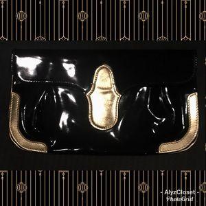 Balenciaga black patent clutch